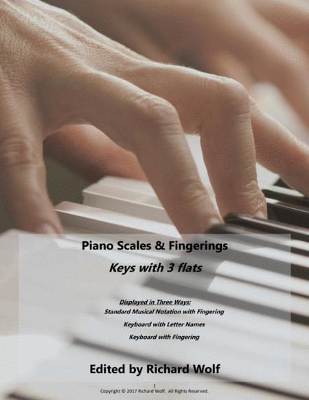 Piano Scales and Fingerings - Keys with 3 flats