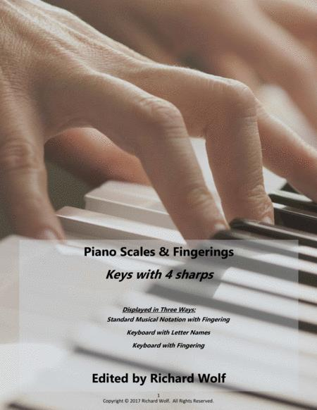Piano Scales and Fingerings - Keys with 4 sharps