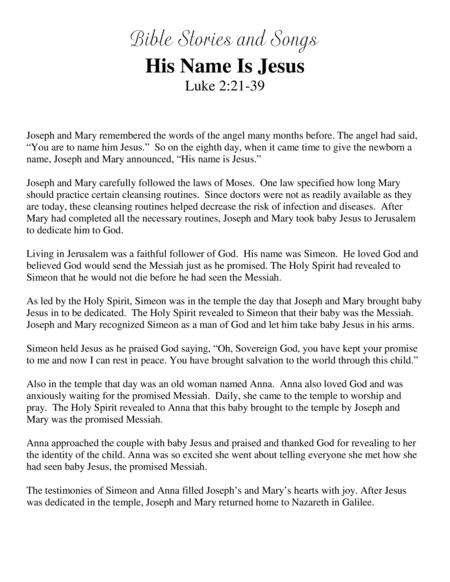 Download His Name Is Jesus (Bible Stories And Songs) Sheet