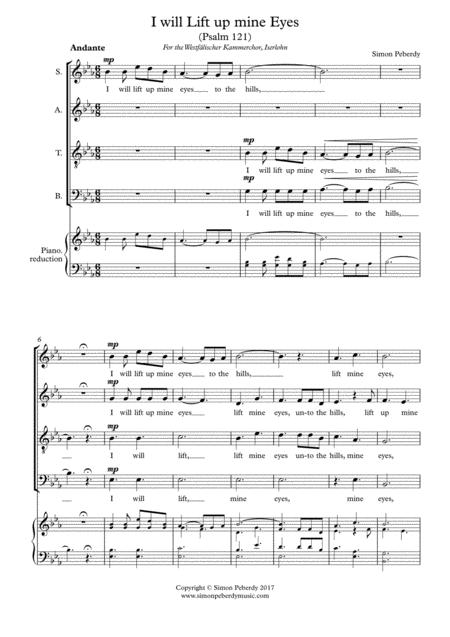 I will lift up mine eyes to the hills (Psalm 121) by Simon Peberdy, 2017 Choral Contest Entry
