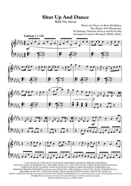 Download Shut Up And Dance (Piano) Sheet Music By Walk The Moon ...
