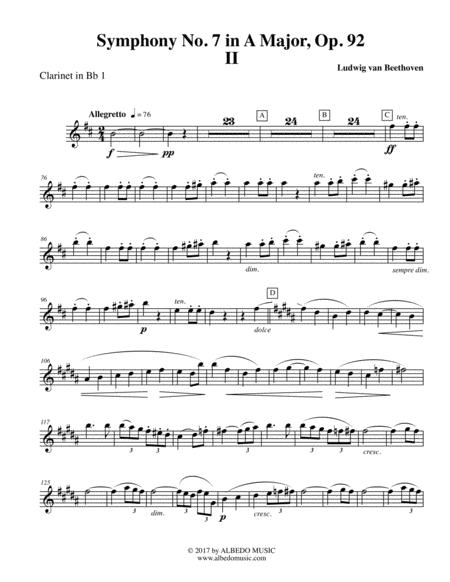 Beethoven Symphony No. 7, Movement II - Clarinet in Bb 1 (Transposed Part), Op. 92