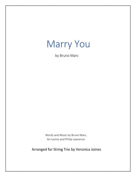 Marry You for String Trio (Violin, Viola, Cello)