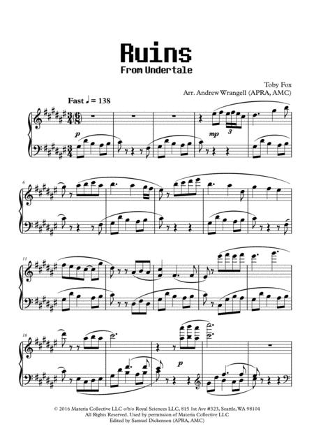 Download Ruins From Undertale Piano Sheet Music By Toby Fox