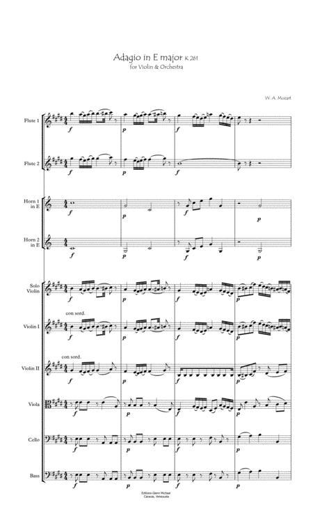 Adagio for Violin and Strings in E major K261