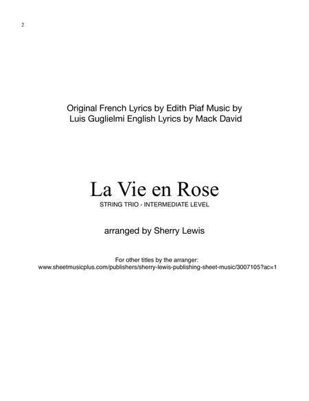 La Vie En Rose STRING TRIO (for string trio)