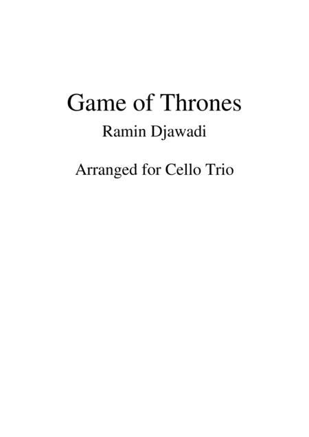 Game Of Thrones - Cello Trio