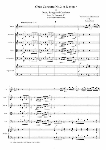 Marcello - Oboe concerto in D minor for Oboe, Strings and Continuo - Score and Parts