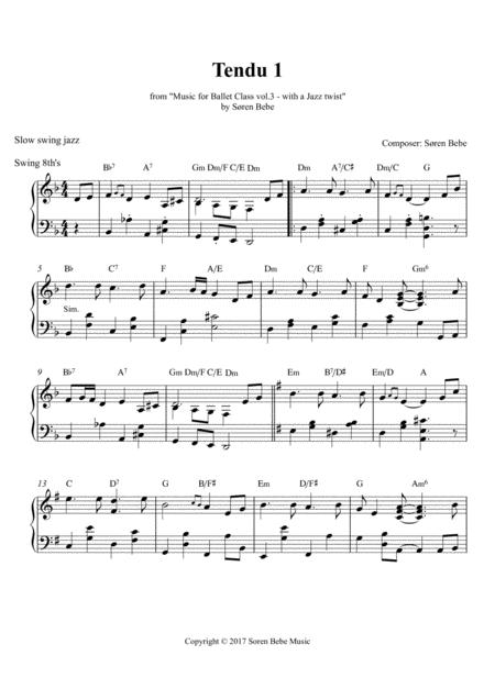 Download Tendu 1 (slow Swing Jazz) - Sheet Music For Ballet Class