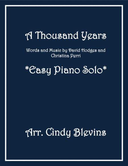 A Thousand Years, an Easy Piano Solo arrangement