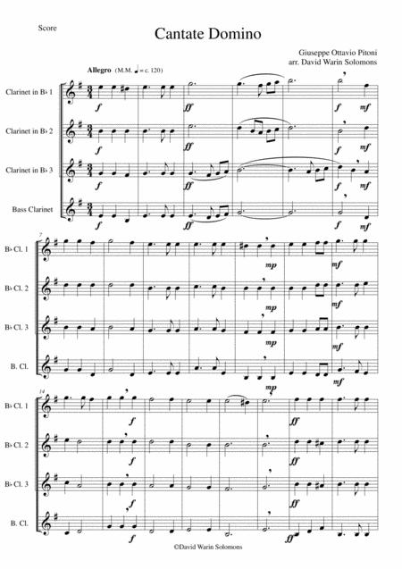 Cantate Domino for clarinet quartet