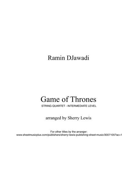 Game Of Thrones for STRING QUARTET, String Trio, String Duo, Solo Violin, String Quartet + string bass chord chart, arranged by Sherry Lewis