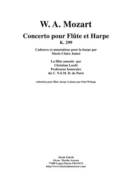 Wolfgang Amadeus Mozart: Concerto for flute and harp, K. 299, piano reduction and solo parts