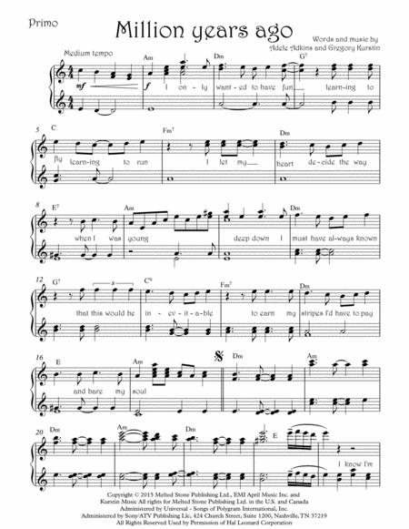 Download Million Years Ago Adele Piano 4 Hands Sheet Music