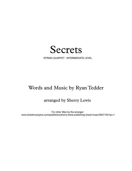 Secrets for STRING QUARTET, String Trio, String Duo, Solo Violin, String Quartet + string bass chord chart, arranged by Sherry Lewis