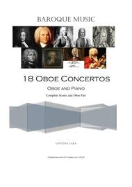 18 Oboe Concertos various composers, for Oboe and Piano - Scores and Oboe Part