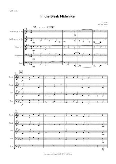 In The Bleak Midwinter (Holst) for Brass Quintet