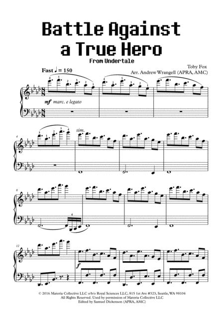 Battle Against a True Hero (from Undertale) (Piano)