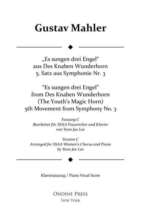 Mahler (arr. Lee): Symphony No. 3 5th movement, Piano Vocal Score (Version C for SSAA Chorus)