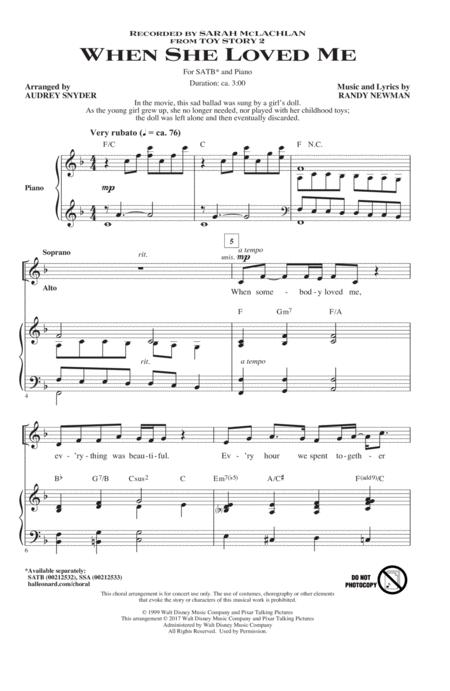 When She Loved Me (from Toy Story 2) (arr. Audrey Snyder)