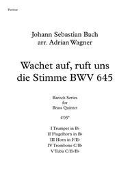 Wachet auf, ruft uns die Stimme BWV 645 (Brass Quintet) arr. Adrian Wagner