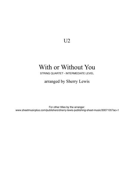 Download With Or Without You String Quartet, String Trio, String Duo ...