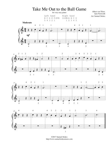 Take Me Out to the Ballgame - for very easy piano