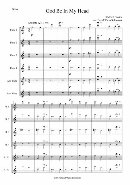 God be in my head for flute sextet (4 flutes, alto flute, bass flute)
