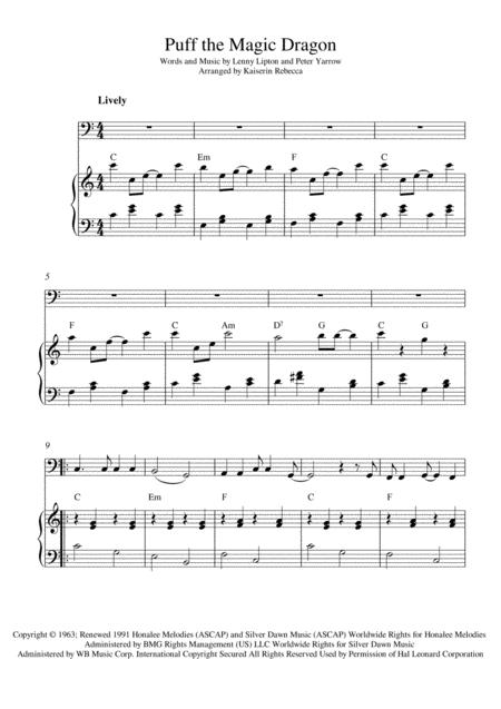 Download Puff The Magic Dragon Sheet Music By Peter Paul And Mary ...