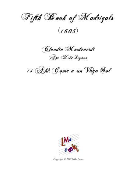 Monteverdi - The Fifth Book of Madrigals (1605) - 14. Ahi! Come un vago sol