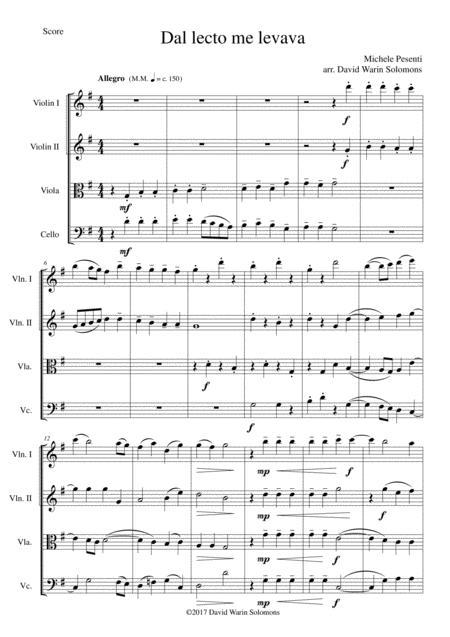 Dal lecto me levava for string quartet
