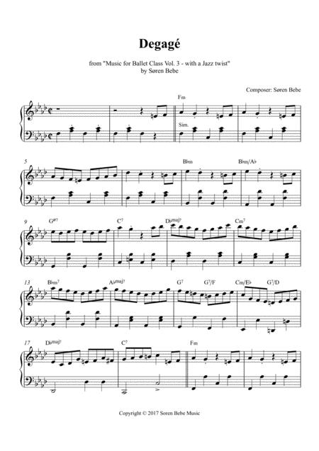 Degagé - Sheet Music for Ballet Class - from Music for Ballet Class Vol.3 - with a Jazz twist - by Søren Bebe
