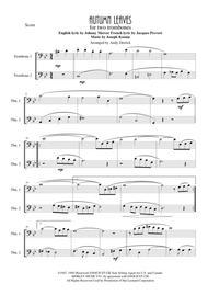 Autumn Leaves for trombone duet