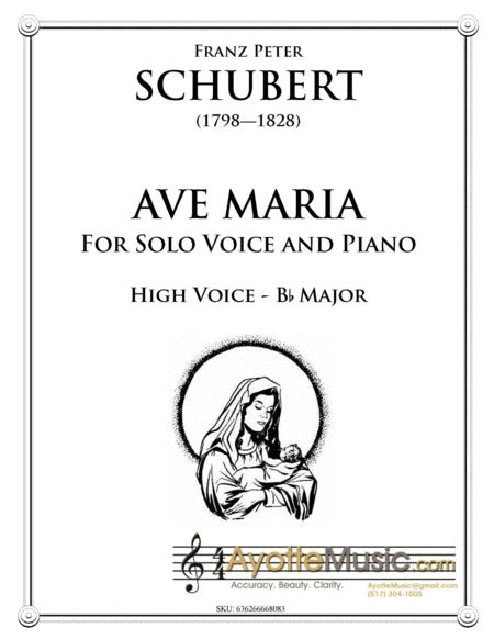 Schubert - Ave Maria for High Voice in B-flat