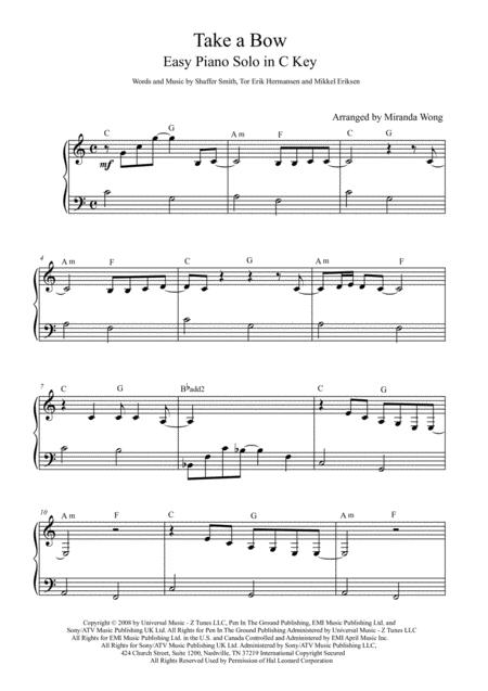 Download Take A Bow - Easy Piano Solo In C Key (With Chords) Sheet ...