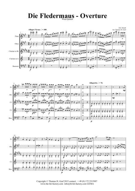 Die Fledermaus - J. Strauss - Overture - Wind Quartet