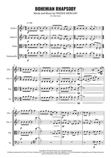 Bohemian Rhapsody for String Quartet