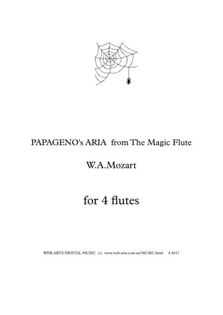 MOZART PAPAGENO's Aria from The Magic Flute   for 4 flutes