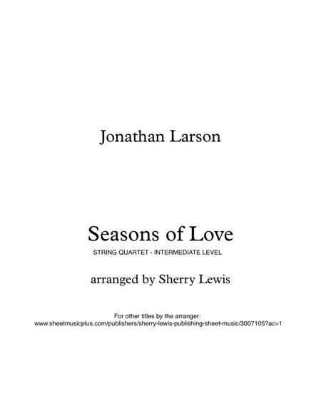 Seasons Of Love for STRING QUARTET, String Trio, String Duo, Solo Violin, String Quartet + string bass chord chart, arranged by Sherry Lewis