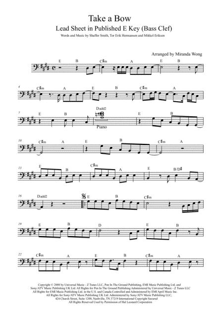 Download Take A Bow Cello Or Double Bass Solo With Chords Sheet
