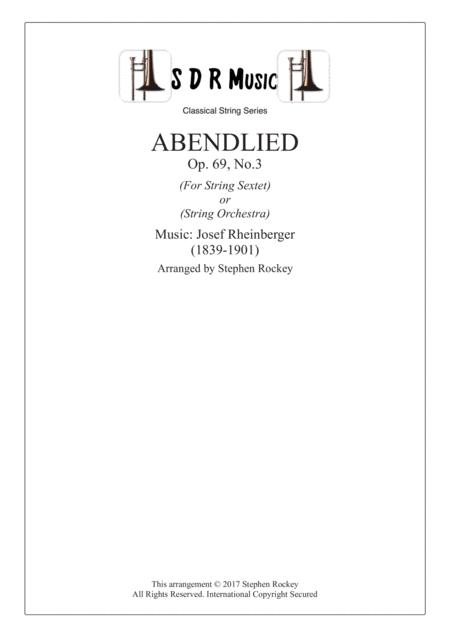 Abendlied, String Sextet or String Orchestra, Op.69, No.3