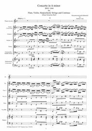 Bach - Concerto in A minor BWV 1044 for Flute, Violin, Harpsichord, Strings and Continuo - Score, Parts