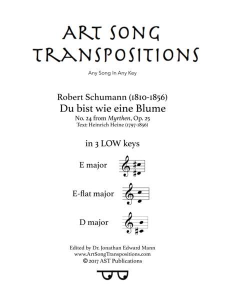 Du bist wie eine Blume, Op. 25 no. 24 (in 3 low keys: E, E-flat, D major)
