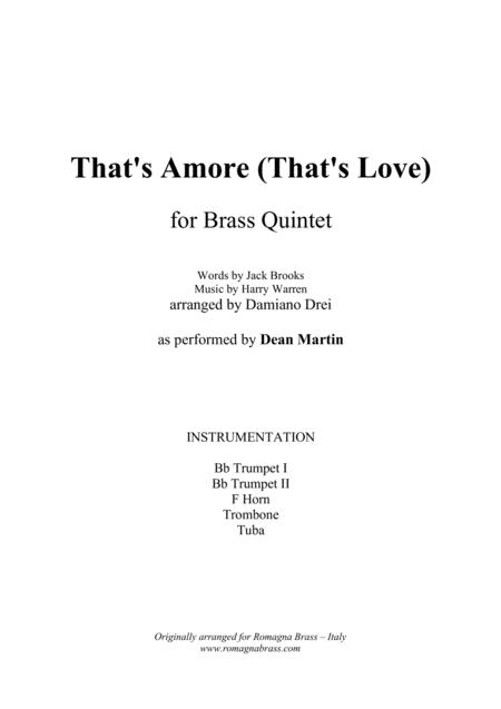 That's Amore (That's Love) for Brass Quintet