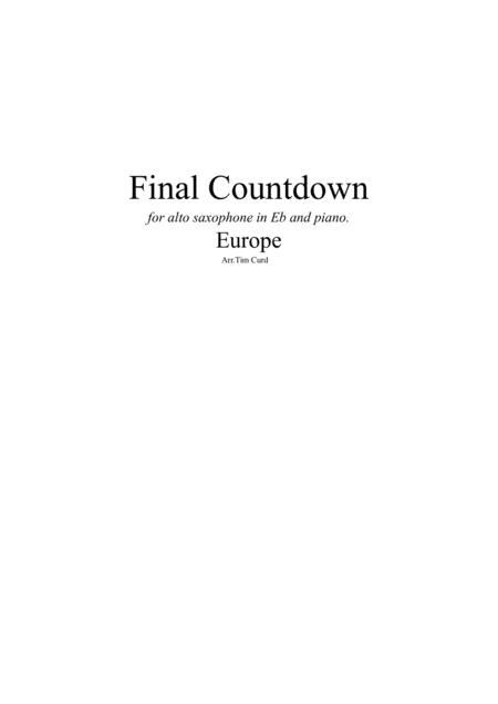 Final Countdown. For Alto Saxophone and Piano