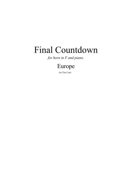 Final Countdown. For Horn in F and Piano.