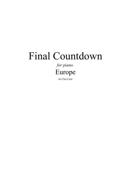 Final Countdown. For Easy Solo Piano