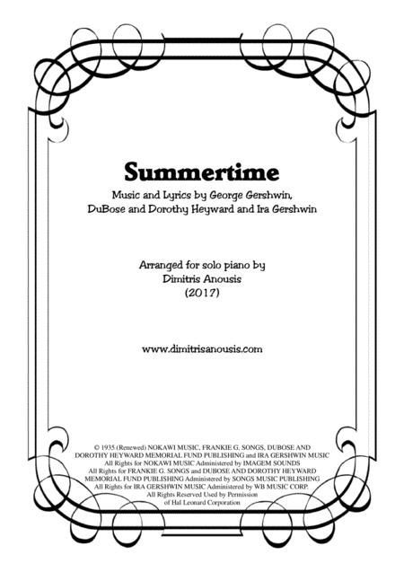 Summertime for solo piano