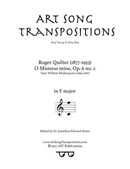 O Mistress mine, Op. 6 no. 2 (F major)