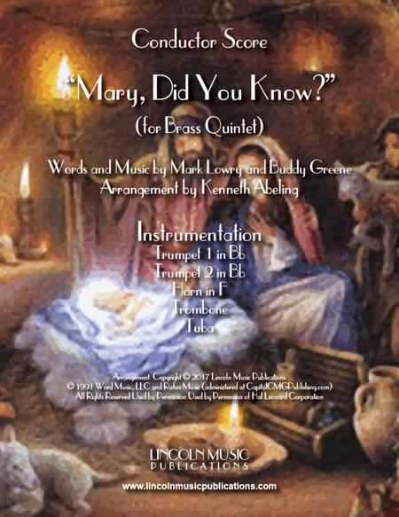 Mary, Did You Know? (for Brass Quintet)